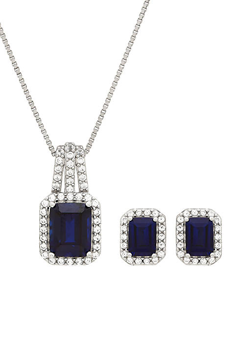 6.30 ct. t.w. Created Sapphire And Created White Sapphire Necklace Set in Sterling Silver