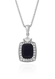 Belk & Co. Onyx and Created White Sapphire Pendant Necklace in Sterling Silver