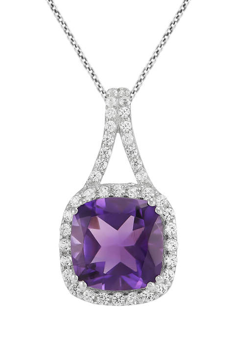 Amethyst and Created White Sapphire Pendant in Sterling Silver