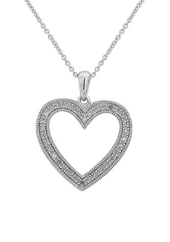 Belk co sterling silver diamond heart pendant necklace belk sterling silver diamond heart pendant necklace mozeypictures Images