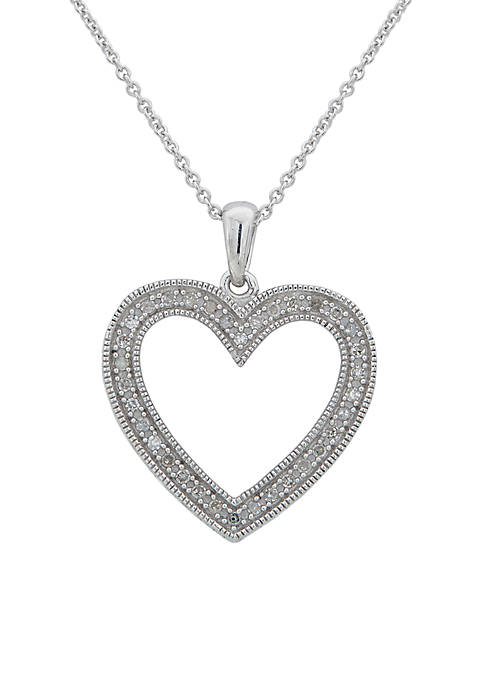 Belk & Co. Sterling Silver Diamond Heart Pendant