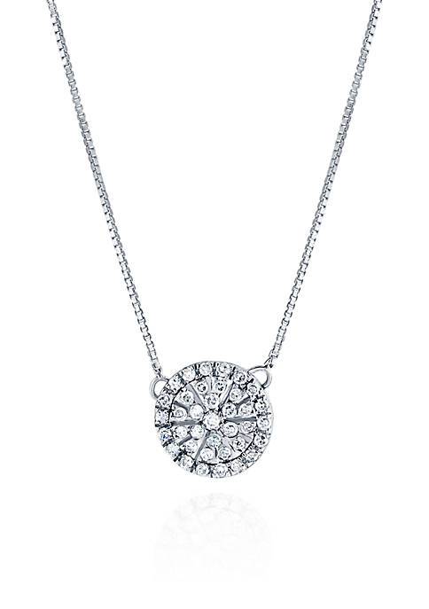1/5 ct. t.w. Diamond Round Disc Pendant in Sterling Silver