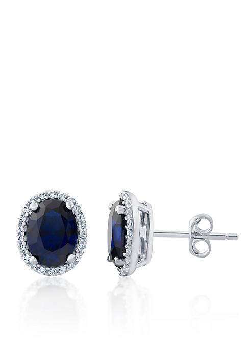Belk & Co. Oval Sapphire Earrings in Sterling