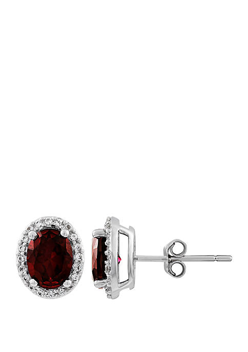 Created Ruby and Created White Sapphire Earrings in Sterling Silver