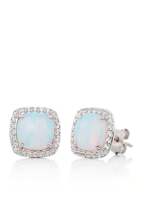 White Sapphire & Opal Earrings in Sterling Silver