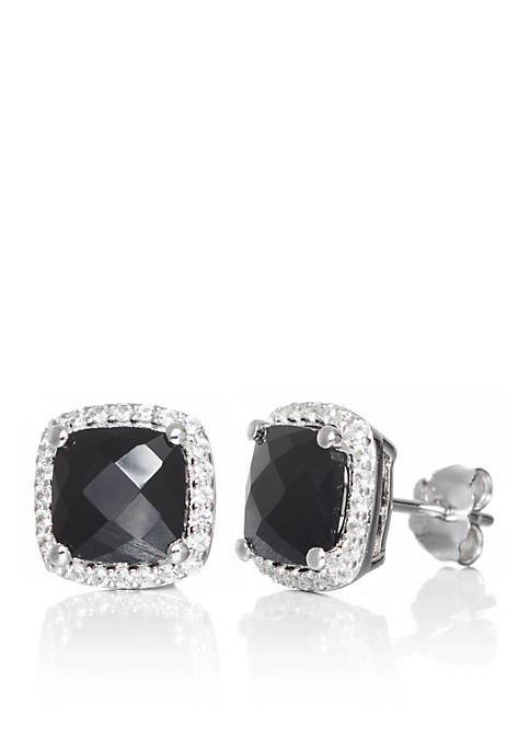 Onyx and White Sapphire Earrings in Sterling Silver