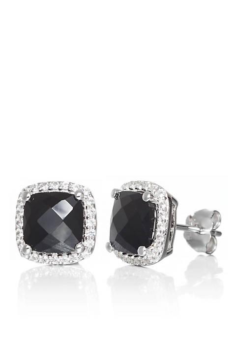 Belk & Co. Onyx and White Sapphire Earrings