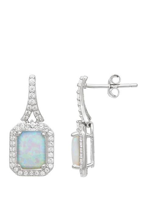 Created Opal and Created White Sapphire Earrings