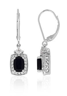 Belk & Co. Onyx and Created White Sapphire Dangle Earrings in Sterling Silver