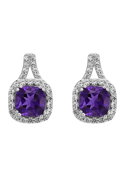1.68 ct. t.w. Amethyst and Lab Created White Sapphire Earrings in Sterling Silver