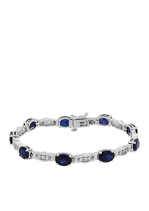 9.0 ct. t.w. Created Sapphire And Created White Sapphire Bracelet in Sterling Silver