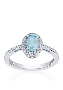 Aquamarine and Diamond Ring in Sterling Silver
