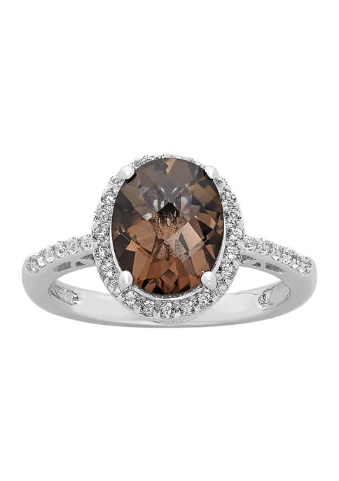 Smokey Quartz and White Topaz Ring in Sterling Silver