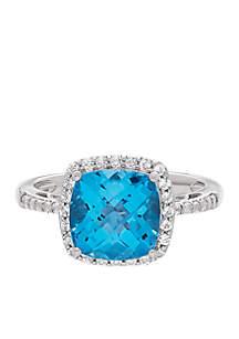 Swiss Blue Topaz & White Topaz Ring in Sterling Silver