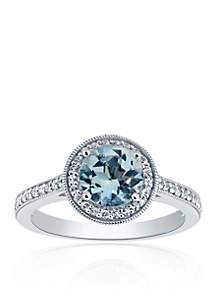 Belk & Co. Aquamarine & White Topaz Ring in Sterling Silver