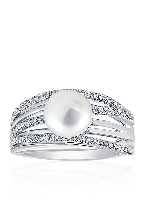 Freshwater Pearl and Diamond Band in Sterling Silver