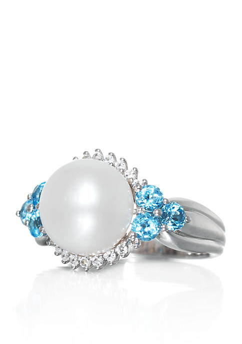 Freshwater Pearl, Blue Topaz & White Topaz Ring in Sterling Silver