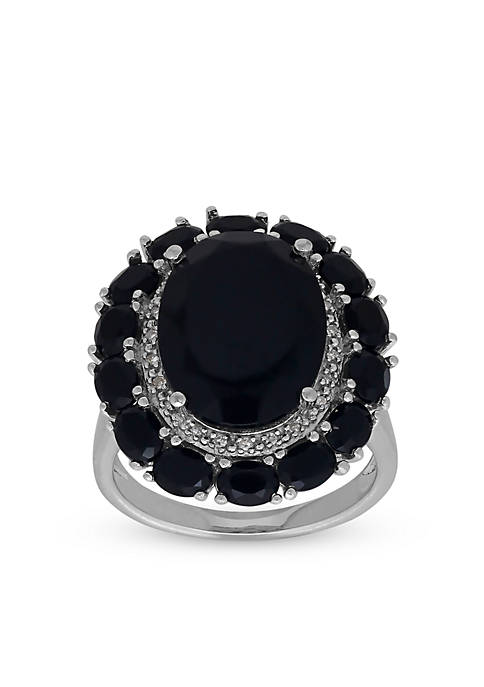 Belk & Co. Onyx and Diamond Ring in
