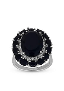 Onyx and Diamond Ring in Sterling Silver