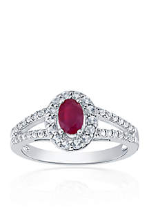Ruby & Diamond Ring in Sterling Silver