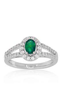Emerald & White Topaz Ring in Sterling Silver