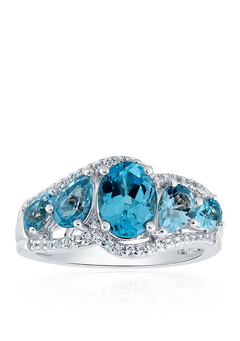 Belk & Co. Blue and White Topaz Ring