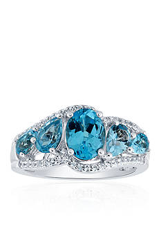 Belk & Co. Blue and White Topaz Ring in Sterling Silver