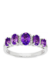 1.12 ct. t.w. Amethyst and Diamond Oval Ring in Sterling Silver