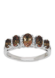 1.1 ct. t.w. Smokey Quartz and Diamond Ring in Sterling Silver