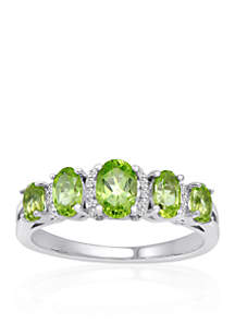 Peridot & Diamond Band Ring in Sterling Silver