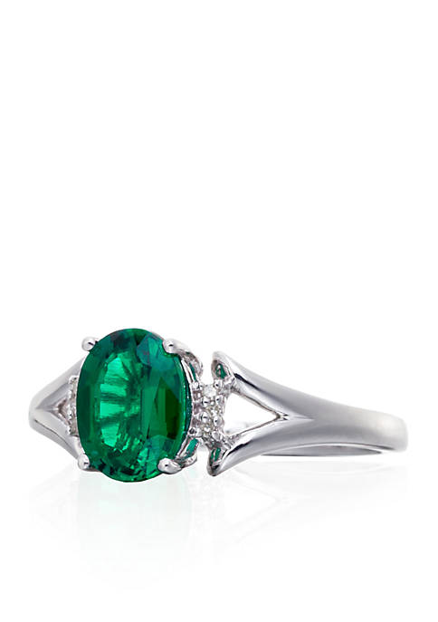 Belk & Co. Created Emerald & Diamond Ring