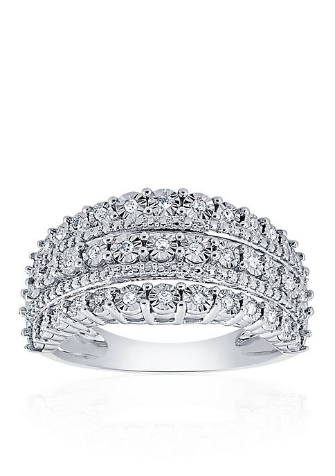 Diamond 3 Row Band in Sterling Silver