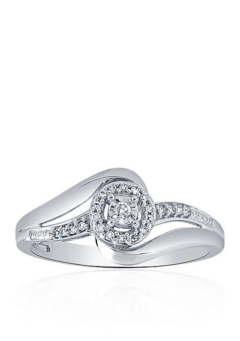 Diamond Swirl Ring in Sterling Silver