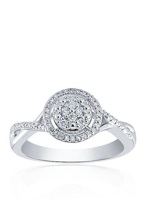 0.20 ct. t.w. Diamond Round Cluster Ring in Sterling Silver