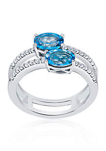 Blue and White Topaz Split Band Ring in Sterling Silver