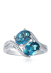 London Blue Topaz Bypass Ring in Sterling Silver