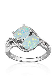 Opal and Diamond Ring in Sterling Silver