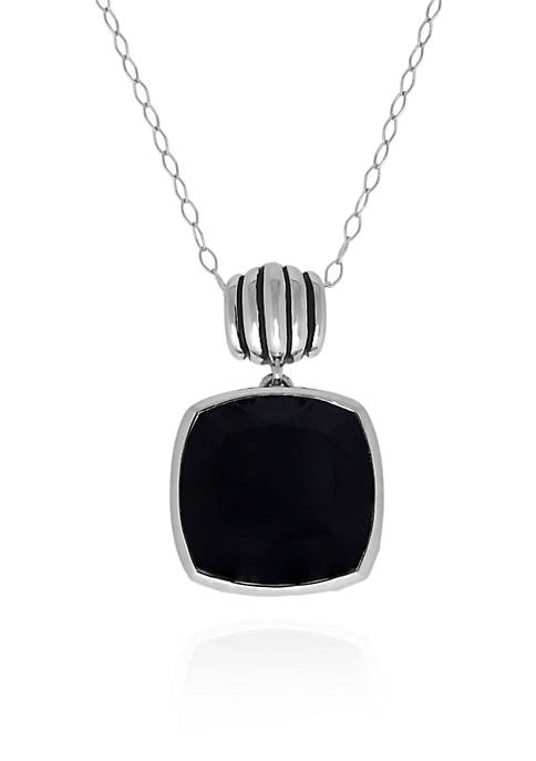 Belk & Co. Onyx Pendant Necklace in Sterling
