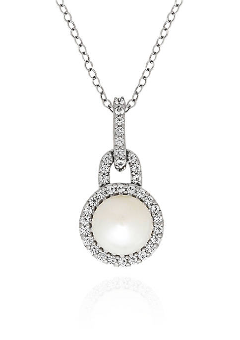 Freshwater Pearl and White Topaz Pendant in Sterling Silver