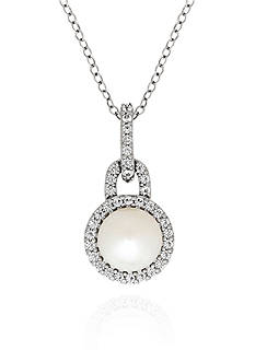 Belk & Co. Freshwater Pearl and White Topaz Pendant in Sterling Silver
