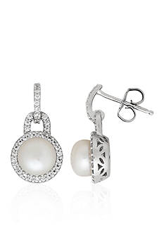Belk & Co. Freshwater Pearl and White Topaz Dangle Earrings in Sterling Silver