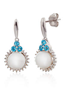 Freshwater Pearl and Blue Topaz Drop Earrings in Sterling Silver