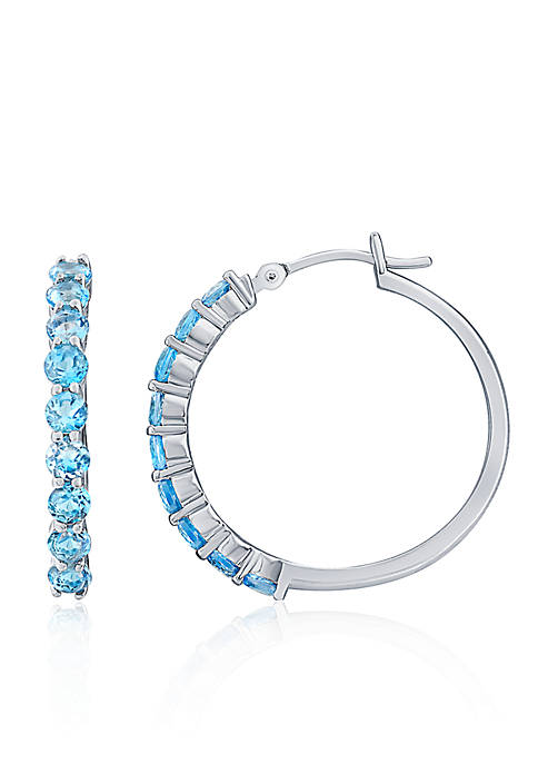 Belk & Co. Blue Topaz Hoop Earrings in