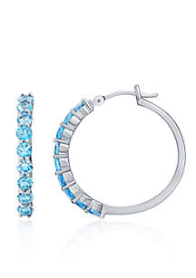 Blue Topaz Hoop Earrings in Sterling Silver