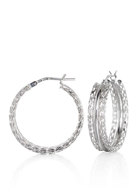 Belk & Co. Glitter Hoop Earrings in Sterling