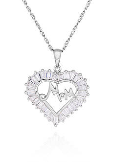 Belk & Co. Cubic Zerconium Heart Mom Pendant Necklace in Sterling Silver