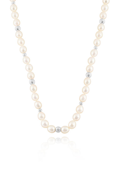 Freshwater Pearl Strand and Sterling Silver Bead Necklace