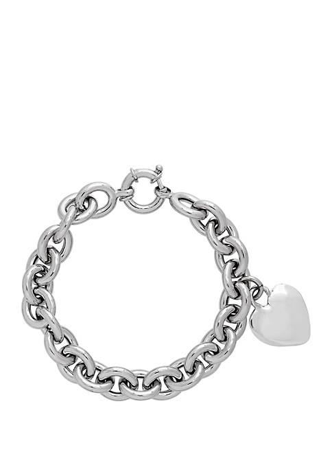 Sterling Silver Heart Toggle Link Bracelet