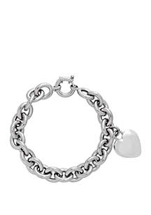 Sterling Silver Heart Toggle Link Bracelet