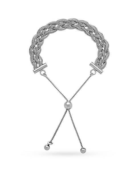 Sterling Silver Twist Bolo Bracelet